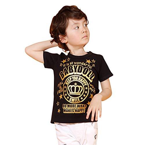 BABYDOLL(ベビードール)親子お揃い 王冠メッセージTシャツ 2269K ブラック 90cm