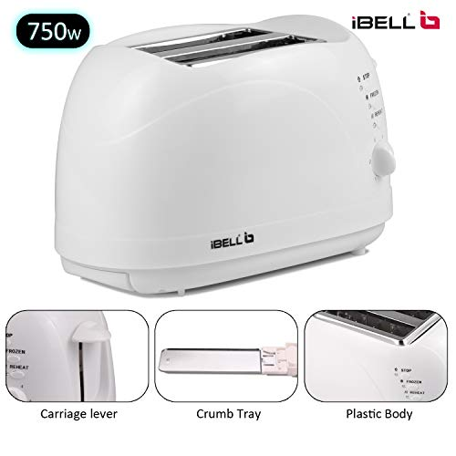 iBELL TOAST75 750-Watt Auto Pop-up Bread Toaster with Removable Crumb Tray, Mid Cycle Heating Element (White)