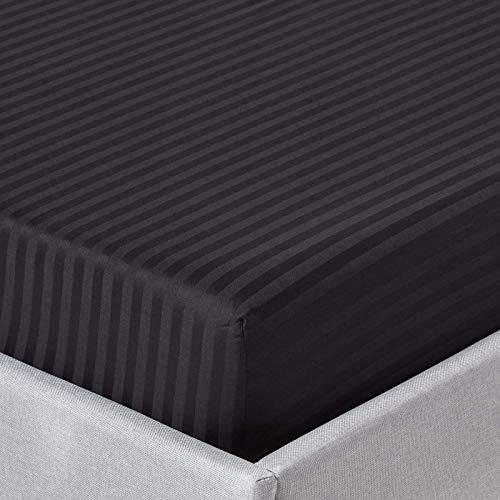 Homescapes Spannbettlaken/Spannbetttuch 180 x 200 cm schwarz mit Satin-Streifen – 100% Reine ägyptische Baumwolle Fadendichte 330