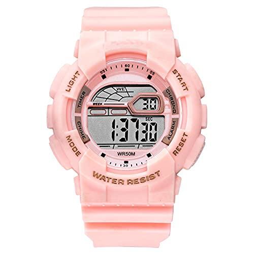 WNGJ Relojes, Relojes electrónicos Deportivos al Aire Libre, Relojes multifunción de Moda a Prueba de Golpes, Pantalla Dual, Correa de Silicona, Embalaje Pink