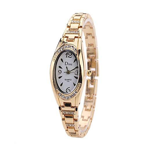 ZSDGY Reloj de Pulsera de Moda para Mujer con Cabeza Ovalada y Reloj de Cuarzo de aleación de Diamantes D