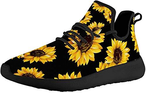 SEANATIVE Go Easy - Zapatillas de correr para mujer, ligeras, de punto, con cordones, malla transpirable, planos, para correr en carretera, color, talla 43 EU