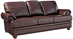 Brown High Leather Sofa With Nail Head Trim
