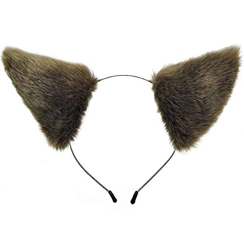 E-TING Katze Fuchspelz Ohren Stirnband Haarband Anime Party Kostüm Cosplay Zubehör (Brown with Beige inside )