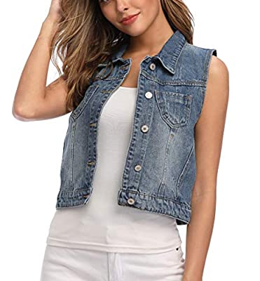Wudodo Womens Denim Jean Vest Classic Cropped Distressed Spread Collar Sleeveless Jean Jacket