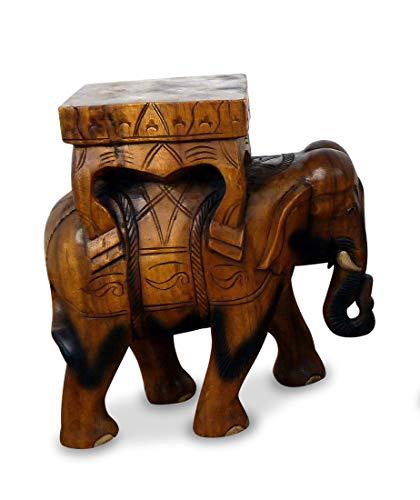 livasia Holzelefantenhocker/Elefantenpodest, Höhe: 42cm, Hocker aus Holz, Holzelefanten, Asiatischer Deko Elefanten Holzhocker aus reinem Massivholz in Handarbeit angefertigt