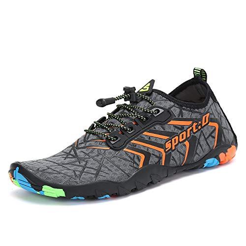 Men's Women's Water Shoes Aqua Sports Yoga Hiking Grey/Orange 8 M US Women / 6.5 M US Men (39)