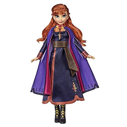 Disney Frozen Singing Anna Fashion Doll with Music Wearing a Purple Dress Inspired by Disney Frozen 2, Toy For Kids 3 Years and Up