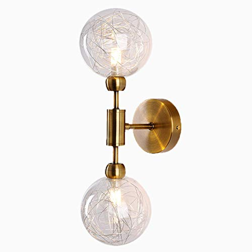 DSFHKUYB Wandleuchte Moderne Wandlampe Einfachheit Glass Lampshade Dekoration Wohnzimmer Studie Korridor Dachgeschoss,Gold Bronze,2