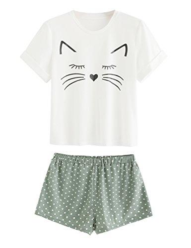 DIDK Women's Kitty Cat Print Ruffles Short Pajama Set