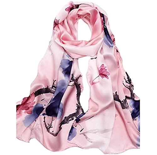 SONGYU Bufanda de Seda para Mujer Estampado Floral de Acuarela Elegante Moda Ligera Una Variedad de Estilos (Color: A)