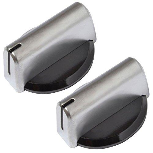 Baumatic Original-Temperatureinstellknopf für Backofen / Grill / Herd (Schwarz/Silberfarben), 2 Stück