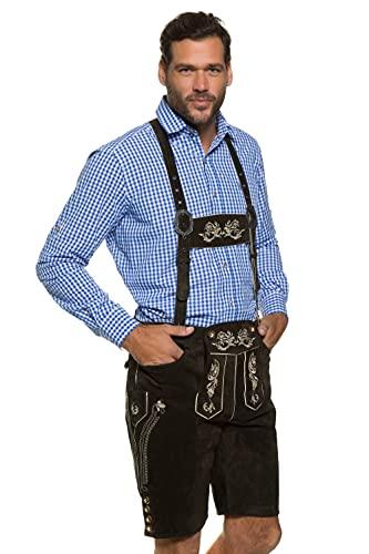 JP 1880 Herren große Größen bis 70, Lederhose, knielange Trachtenhose mit Trägern, Hirschknopf-Optik, abnehmbares Geschirr braun 52 705528 30-52