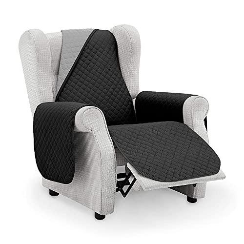 Protector Sofa Sillon Relax. Cubre Sofa 1 Plaza. Cubre Sillon reclinable Acolchado Reversible. Fundas para Sofa Antimanchas. Rombos. Color Negro - Gris. Cubre Sofa 1 Plaza Relax 55 cm.