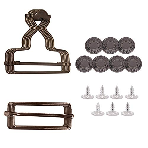 Trimming Shop 35mm Dungaree Buckles with Rectangle Slider Tri-Glide Buckles & No-Sew Jean Buttons for Suspender, Kids Overalls, Straps, Jumpsuits, Gunmetal, 2pcs Set