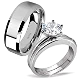 MABELLA His Hers Stainless Steel Men's Band Women Cubic Zirconia Round Cut Wedding Engagement Ring Set,Women's Size 8 Men's Size 9