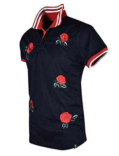 SCREENSHOTBRAND-S11815 Mens Hipster Hip-Hop Premium Tees - Stylish Fashion Rose Flower Embroidery Polo T-Shirt - Black-Large