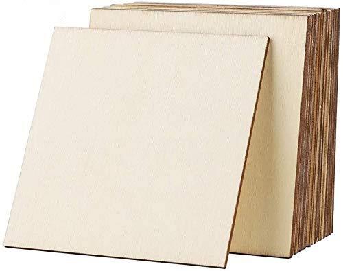 TOKERD 25 Stück Quadrat Holzscheiben Sperrholzplatte 10cm Holzplättchen Naturholzscheiben Bretter für DIY Holzarbeiten, Geschenke, Deko, Basteln, Pyrografie, Scrapbook Bemalen, Getränke Untersetzer