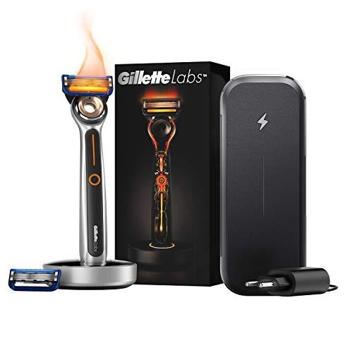 Gillette Labs Heated Razor Para Hombre, Kit de Viaje Con Máquina de Afeitar, Hoja, Base de Carga, Enchufe Inteligente, Estuche con Función de Carga