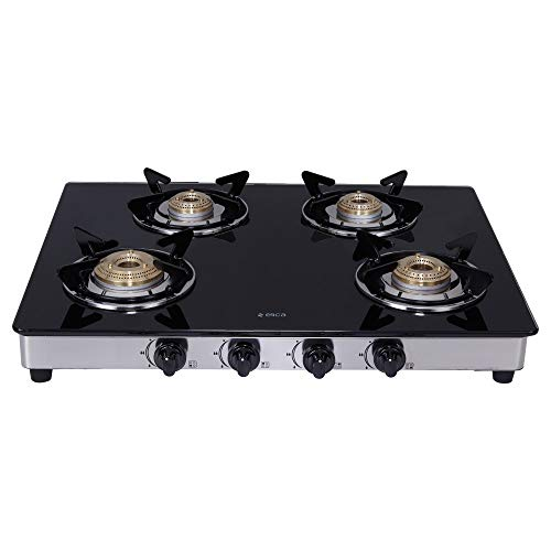 Elica Vetro Glass Top 4 Burner Gas Stove with Double Drip Tray...