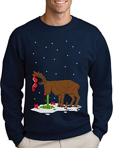 Green Turtle T-Shirts Witziges Ugly Sweater Geschenk Verkatertes Rentier Sweatshirt Large Marineblau