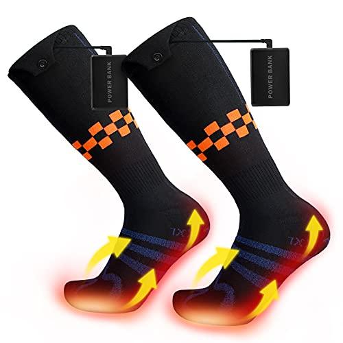 Bodhi2000 Calcetines calefactores, Calentador de pie con batería de Gran Capacidad de 5000 mah, 4 configuraciones de Ajuste de Temperatura, Calcetines cálidos para esquí de Invierno y Senderismo L