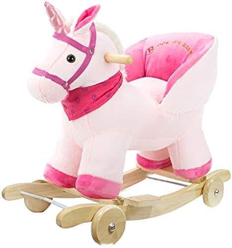 HUYP Startseite Nette Kinder Holz Pferd Massivholz Dual-Use Baby Rocking Wiegen Schaukelstuhl Baby Alter Kindergarten (Farbe   Rosa)