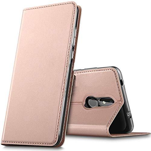 Verco Handyhülle für Nokia 3.2, Premium Handy Flip Cover für Nokia 3.2 Hülle [integr. Magnet] Book Hülle PU Leder Tasche, Rosegold