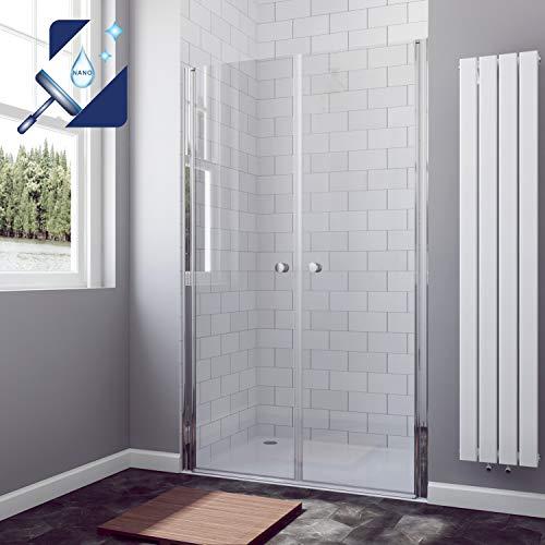 AQUABATOS® 110 cm Pendeltür Dusche Doppel Schwingtür Duschabtrennung Duschwand 6mm ESG Glas mit Nano Beschichtung, Höhe 195cm