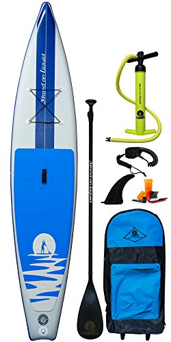 Stand on Liquid Chelan Air Inflatable 12 Foot 6 Inch Touring Stand Up Paddle Board iSUP Package | Includes Adjustable Paddle, Dual Action Pump, Wheeled Carrying Bag, Leash