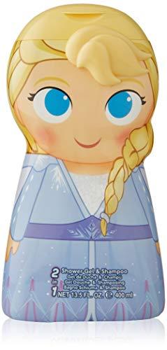 Frozen II Duschgel & Shampoo mit milder Pflegeformel mit Duft nach Orange, 3D Figur Elsa (400ml)