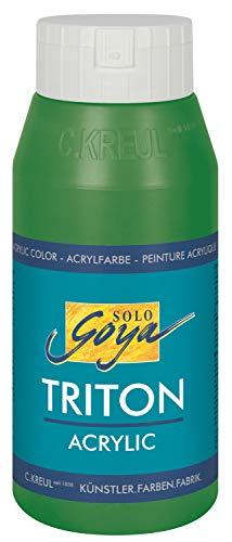 Kreul 17014 - Solo Goya Triton Acrylfarbe laubgrün, 750 ml Flasche, schnell und matt trocknend, Farbe auf Wasserbasis, in Studioqualität, vielseitig einsetzbar, gut deckend und ergiebig