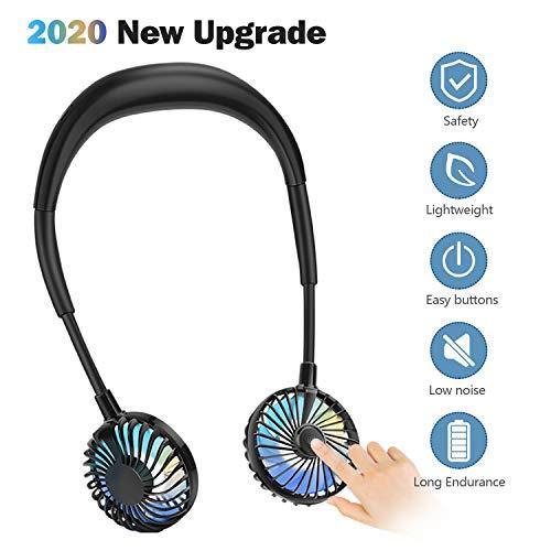 CENXINY Ventilador Portatil Mano Libre, Ventilador Cuello USB Ventilador Botón Frontal, LED Ventilador Personal Ajustable de 360 ° para el hogar, los Viajes, el Deporte al Aire Libre