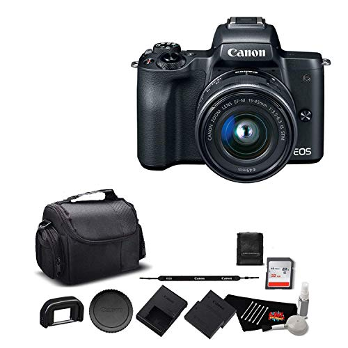 Canon EOS M50 Mirrorless Digital Camera with 15-45mm Lens and 4K Video 2680C011 Bundle with 32GB Memory Card + Spare Battery + More- International Model