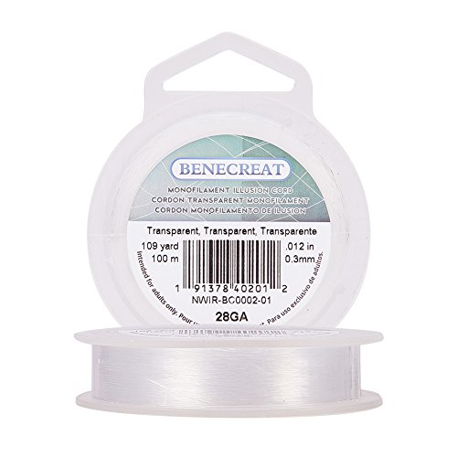 BENECREAT 100m 0.3mm Fishing Nylon Beading Thread Wire for Hanging, Bracelet and Jewelry Making