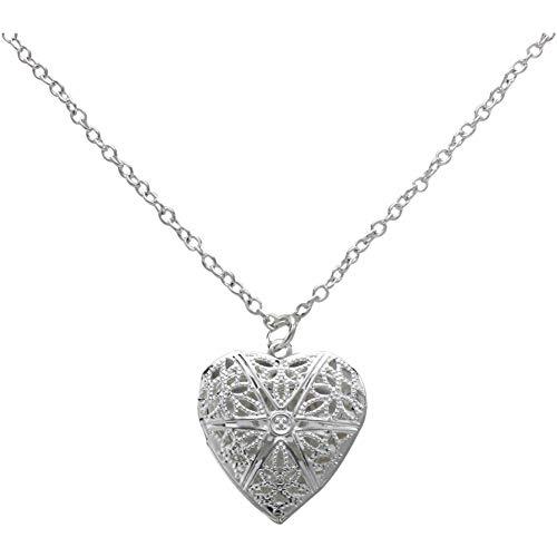 KXZXLHS Metall Silber Medaillon Halskette Anhänger 25Mm Herzform