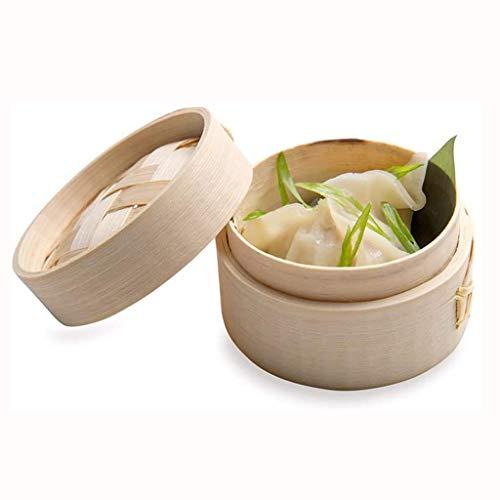 JY&WIN Mini vaporera de bambú, pequeña Cesta de vaporera de Dim Sum, Cesta de vaporera de Bola de Masa de Madera para Restaurante, decoración de Fiestas en casa, Plato de bambú con Tapa de bambú, 1