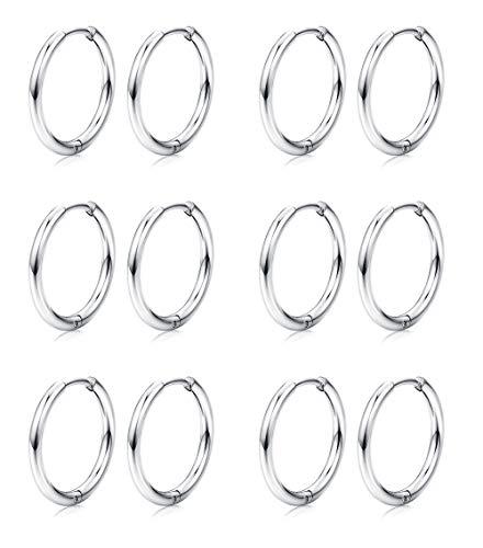 Besteel 6 Pairs Hoop Earrings Cartilage Tragus Septum Helix Endless Small Sleeper Hoop Rings for Women Men 8MM 10MM 12MM