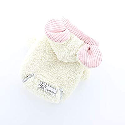 Pet Jacket Dog Clothes Winter Warmer Small Dog Coat Hoodie Sweater 2 Leg Hooded Outfits Jumper for Chihuahua Poodle Teacup Dog (XS, Beige)