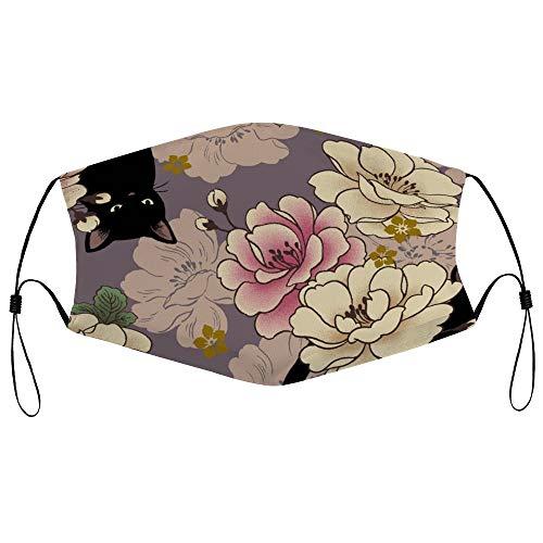 Dkisee Fashion Unisex Staubmaske mit Filterelement, verstellbare Ohrschlaufen, Gesichtsmaske, Outdoor-Schutzmaske (Blüte Katzen, Lavendellila)
