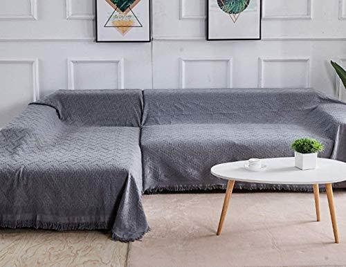 Rose Home Fashion Sofabezug L Form, Mehrzweck Sofaüberwurf aus Baumwolle, Couch Überzug, Sofa Überzug für 2 Sitzer + 3 Sitzer, Grau