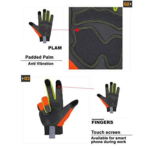 Gants de sauvetage haute visibilité avec doigts tactiles, multicolore