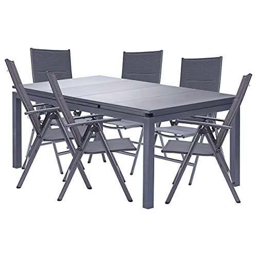 Naterial - Gartenmöbel-Set - Ausziehtisch ODYSSEA 180/240x100cm und 6 Hochlehner Klappstühle - Aluminium - Anthrazit