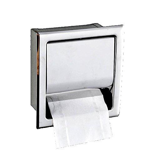 Pinzz dispenser rotolo scatola di carta velina porta carta igienica in acciaio INOX incasso nascosto per commerciali hotel, bagno, guardaroba, cromo lucido, montaggio a parete, impermeabile