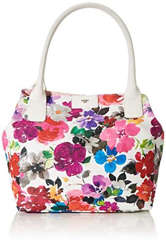TOM TAILOR Umhängetasche Damen Miri Riviera, Weiß (Blumenmuster), L, Handtasche, Tasche Damen