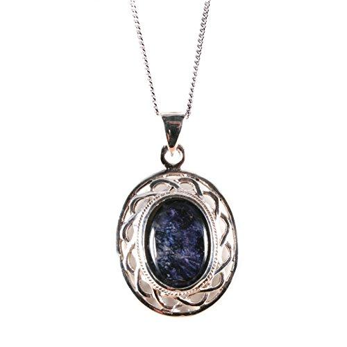 Silver/Blue John (Derbyshire) Celtic Call Pendant & Chain