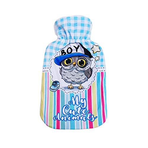 Jilibaba - Bolsa de agua caliente con cubierta de peluche azul de 500 ml