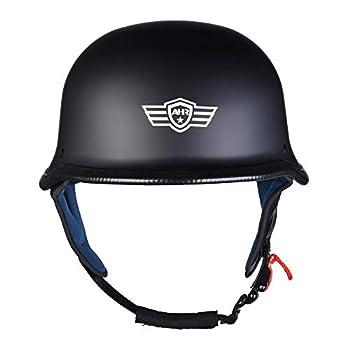 AHR RUN-G Open Face DOT Motorcycle Half Helmet German Style Cruiser Chopper Biker Skull Cap Helmet Matte Black S