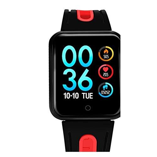CIGONG Smart-Uhr Sport IP68 Smart Watch P68 Fitness Armband Aktivität Tracker Herzfrequenz-Monitor Blutdruck for Ios Android Frauen Männer Smart-Armband (Color : Silica-Black red)