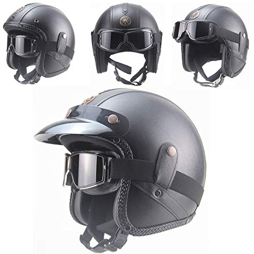 Dgtyui Casco in pelle PU Casco moto 3/4 Casco moto retrò con occhiali Tesa staccabile - Pelle nera BZ 2 XS